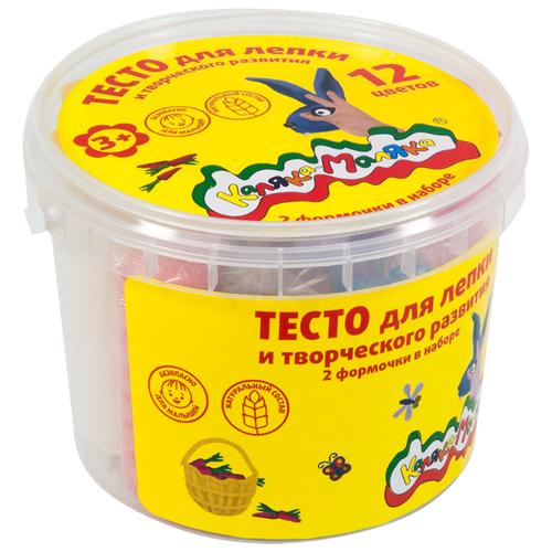 Купить Масса для лепки Каляка-Маляка набор 12 цветов 360 г 2 формочки (ТЛБКМ-12/30), Пластилин и масса для лепки