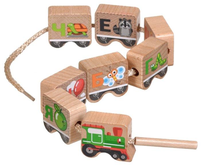 Шнуровка Мир деревянных игрушек Паровозик Алфавит (Д001)