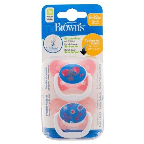 Пустышка силиконовая ортодонтическая Dr. Brown's Prevent Contoured 6-12 м (2 шт.) розовый/синий пустышка силиконовая классическая dr brown s happypaci 0 6 м 1 шт розовый