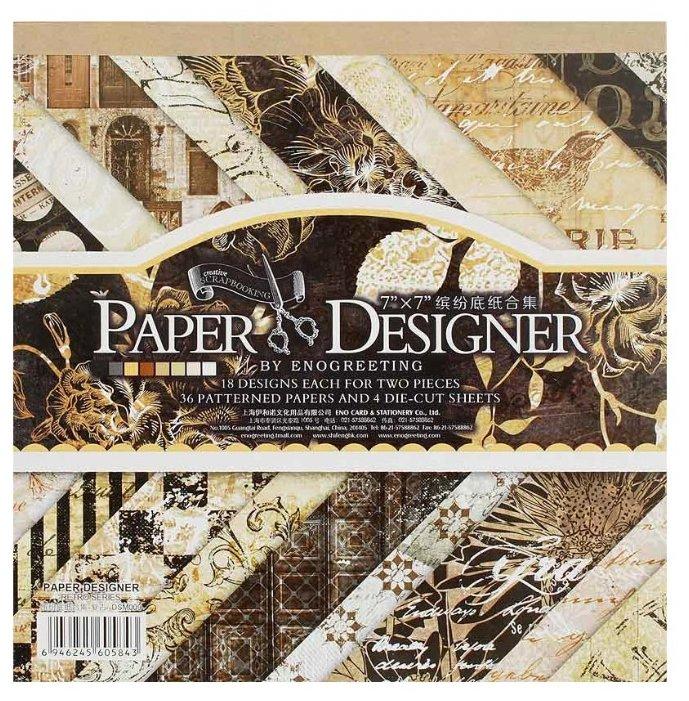 Бумага Белоснежка 17,5x17,5 см, 36 листов, Черный бархат