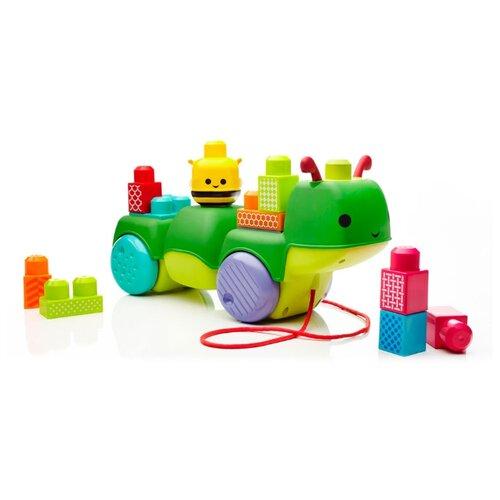mega bloks машинка mega bloks first builders Каталка-игрушка Mega Bloks Гусеница First Builders Move'n Groove (CNG22) со звуковыми эффектами зеленый