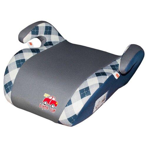Бустер группа 2/3 (15-36 кг) Little Car Smart, синий/клетка автокресло группа 1 2 3 9 36 кг little car ally с перфорацией черный