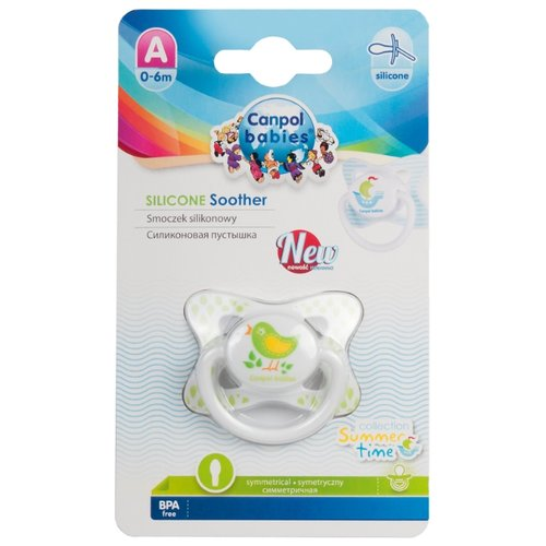 Купить Пустышка силиконовая анатомическая Canpol Babies Summertime 0-6 м (1 шт) белый/птичка, Пустышки и аксессуары