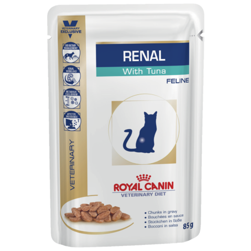 Корм для кошек Royal Canin Renal при проблемах с почками, с тунцом 85 г (кусочки в соусе) cat wet food royal canin kitten sterilized kitches for kittens pieces in sauce 24 85 g