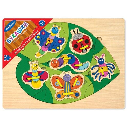 Купить Шнуровка Step puzzle Веселая шнуровка Букашки (89504) зеленый/разноцветный, Шнуровки