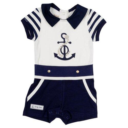 Фото - Песочник lucky child размер 28 (92-98), белый/синий пижама lucky child размер 28 92 98 полосатый