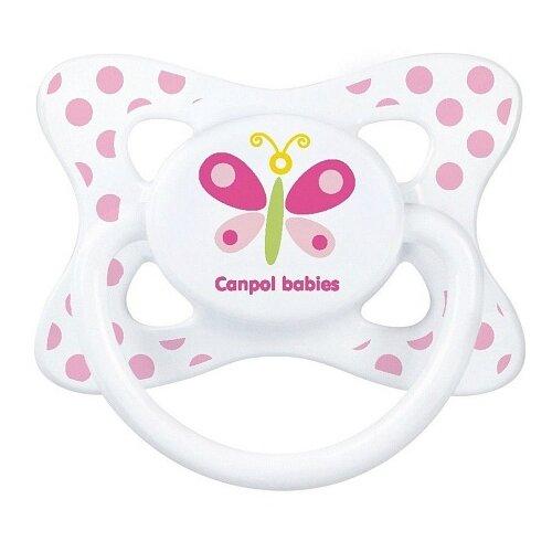 Купить Пустышка латексная классическая Canpol Babies Summertime 0-6 м (1 шт) белый/бабочка, Пустышки и аксессуары