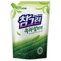 Cj lion chamgreen средство для мытья посуды, фруктов, овощей, зеленый чай, мягкая упаковка, 1200 мл