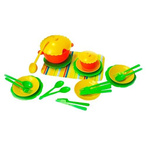 Набор посуды Пластмастер Сервиз 22131 разноцветный песочный набор пластмастер зверюшки 70017
