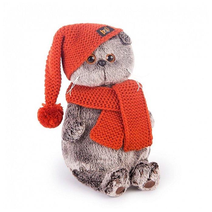 Мягкая игрушка Basik&Co Кот Басик в вязаной шапке и шарфе 25 см
