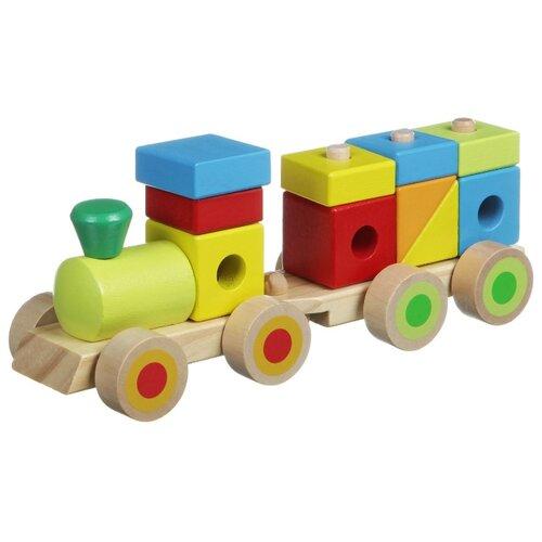 Каталка-игрушка BONDIBON Паровоз конструктор (BB1503) бежевый/зеленый/желтый игрушка eichhorn паровоз электронный 100001303