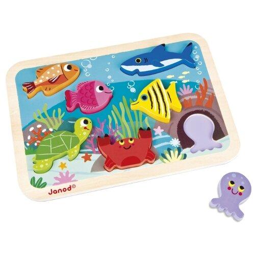 Купить Рамка-вкладыш Janod Подводный мир (J07056), 7 дет., Пазлы
