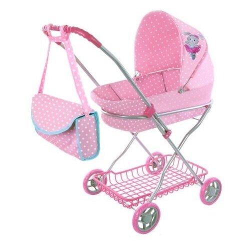Купить Коляска-люлька Mary Poppins Зайка 67311 розовый/белый горох, Коляски для кукол
