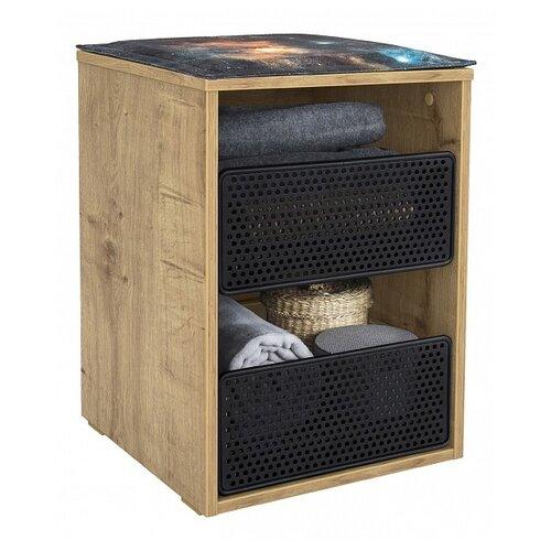 Тумба прикроватная, для гостиной, для детской Cilek Wood 20.69.1602.00, ШхГхВ: 40х38х57 см, цвет: бежевый/черный