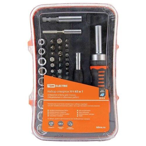 Набор бит и торцевых головок TDM ЕLECTRIC SQ1019-0204, 65 предм., черный/оранжевый