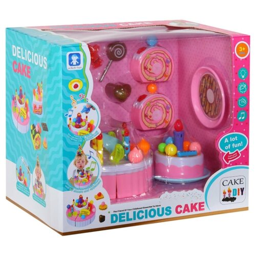 Купить Игровой набор для детей Игрушечный Тортик с аксессуарами, световые, звуковые эффекты, 30*19, 5*26, 5 см, Компания Друзей, Игрушечная еда и посуда