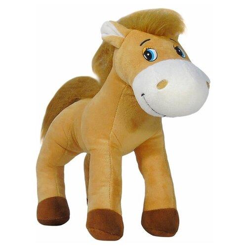 Мягкая игрушка лошадка плюшевая 33 см светло-коричневый