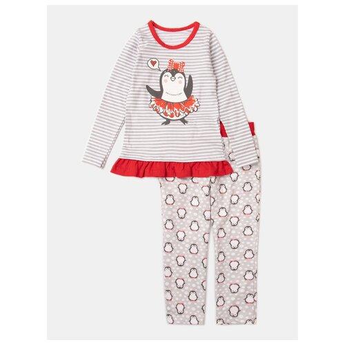 Купить Пижама KotMarKot размер 128, серый/красный, Домашняя одежда