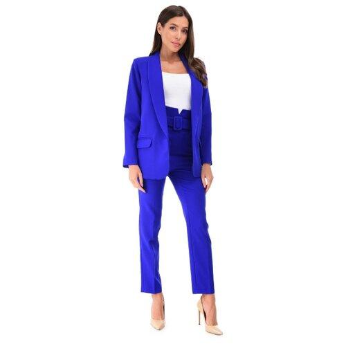 Женский классический костюм двойка, укороченные брюки с завышенной талией, удлиненный прямой пиджак оверсайз oversize, синий электрик цвет, размер 42