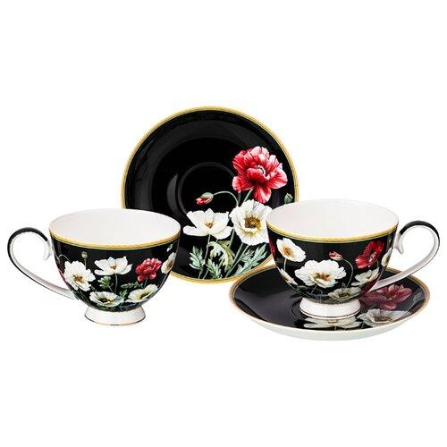 Фото - Набор чайный Lefard Маки на 2 персоны, 4 предмета 250 мл черный (104-606) сервиз чайный из фарфора звездная ночь 2 предмета 104 649 lefard