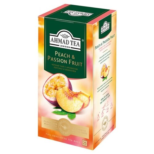 Чай черный Ahmad Tea Peach & Passion fruit в пакетиках, 25 шт.