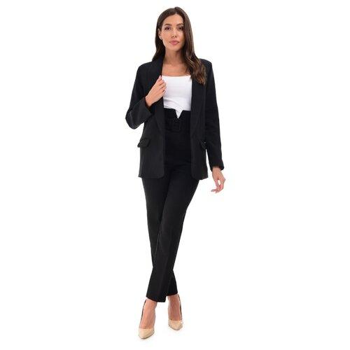 Женский классический костюм двойка, укороченные брюки с завышенной талией, удлиненный прямой пиджак оверсайз oversize, черный цвет, размер 42