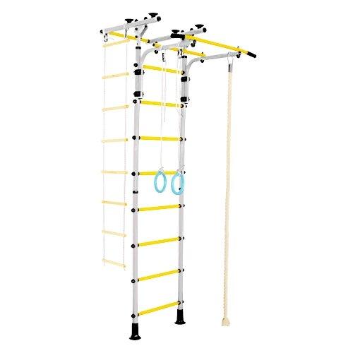 Купить Шведская стенка ЮНЫЙ АТЛЕТ Пол-потолок Т белый/желтый, Игровые и спортивные комплексы и горки