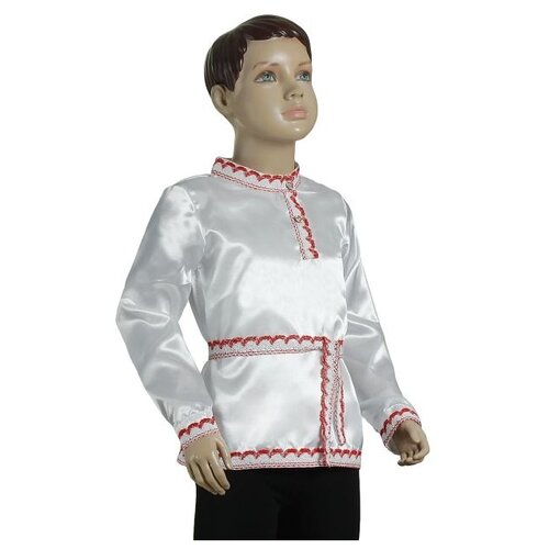 Купить Рубашка Страна Карнавалия Русская народная рубаха, белый/красный, размер 98-104, Карнавальные костюмы