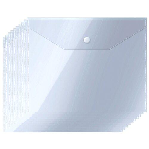 Купить OfficeSpace Папка-конверт на кнопке А5, пластик 150 мкм, 10 шт прозрачный, Файлы и папки