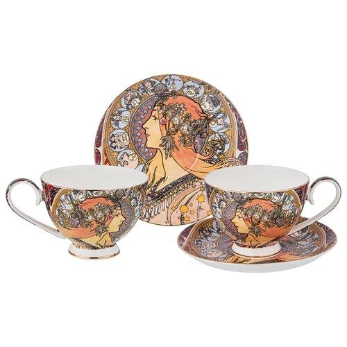 Фото - Набор чайный Lefard Зодиак (А. Муха) на 2 персоны, 4 предмета 250 мл (104-664) сервиз чайный из фарфора звездная ночь 2 предмета 104 649 lefard