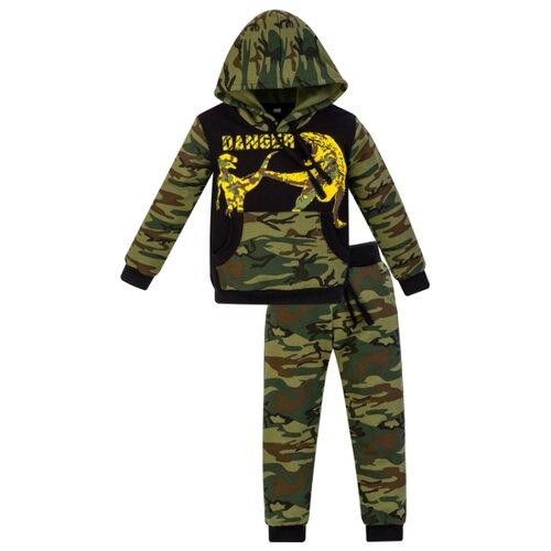 Купить Спортивный костюм Утенок размер 140, хаки/черный/дино, Спортивные костюмы