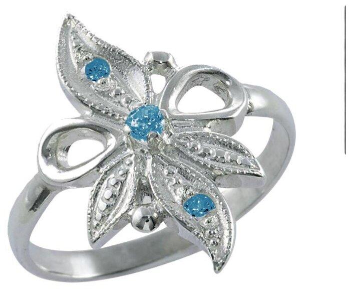 """Купить TOP CRYSTAL Кольцо """"Цветок"""" с фианитами, серебряное 40245297-голубой, размер 19 по низкой цене с доставкой из Яндекс.Маркета"""