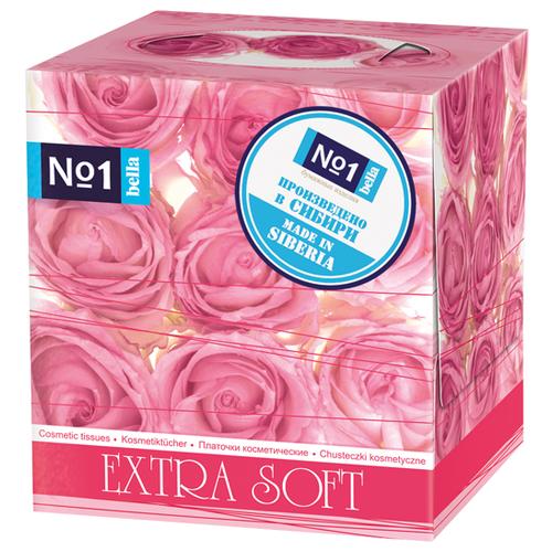 Платочки Bella №1 косметические двухслойные Extra Soft Розовые розы, 80 шт.