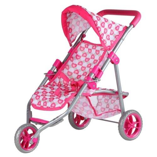 Купить Коляска для кукол детская прогулочная, металлическая, трехколесная, розовый, в/п 62х31х12см, Компания Друзей, Коляски для кукол