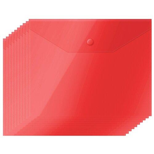 Купить OfficeSpace Папка-конверт на кнопке А5, пластик 150 мкм, 10 шт красный, Файлы и папки