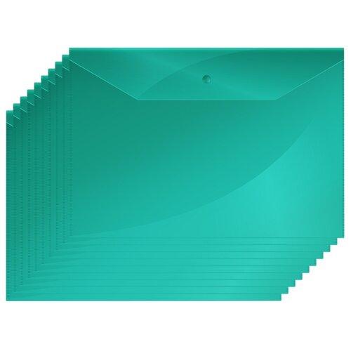 Купить OfficeSpace Папка-конверт на кнопке А4, пластик 150 мкм, 10 штук зеленый, Файлы и папки