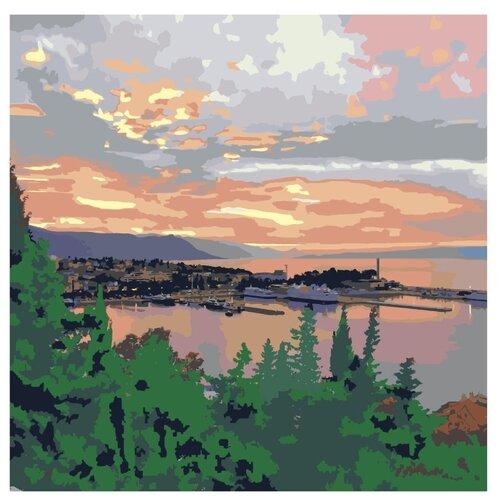закат в морской бухте раскраска картина по номерам на холсте ets258 4040 40х40 Картина по номерам, 100 x 100, ETS258-4040, Живопись по номерам, набор для раскрашивания, раскраска