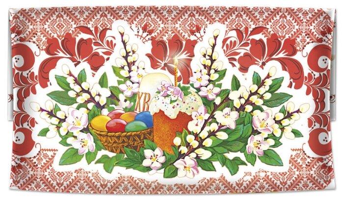Купить Салфетка пасхальная/ 53х28см/ХВ/красные листья, на ветках вербы кулич, пасха, корзина с яйцами(№7) по низкой цене с доставкой из Яндекс.Маркета