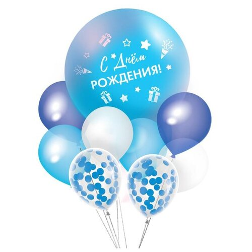Фонтан из шаров Страна Карнавалия С днем рождения, гирлянда, наклейки, конфетти, 16 предметов (3622318) страна карнавалия набор бумажной посуды с днем рождения маленький джентельмен 3877347 19 шт голубой