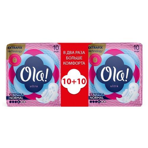 Купить Ola! прокладки Ultra Normal Бархатистая сеточка, 4 капли, 10 шт., 2 уп.