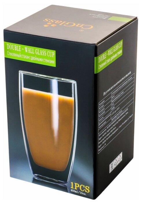Стакан CnGlass большой высокий стеклянный с двойными стенками для кофе латте чая холодных и горячих напитков 450 мл B19-1 — купить по выгодной цене на Яндекс.Маркете