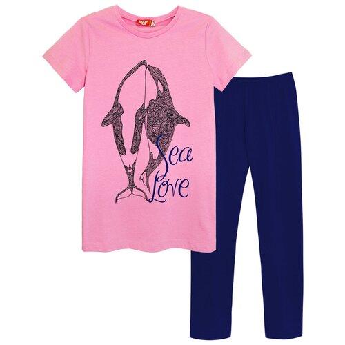 Купить 4169 Комплект (футболка-лосины) для девочки светло-розовый_темно-синий, размер 140-72, Let's Go, Комплекты и форма