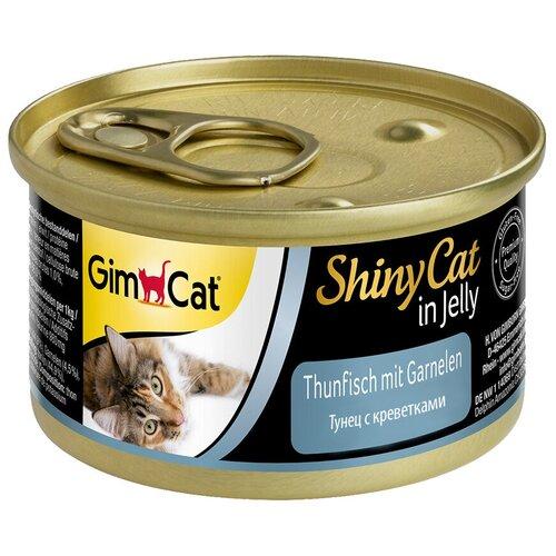 Влажный корм для кошек GimCat беззерновой, с тунцом, с креветками 24 шт. х 70 г влажный корм для кошек wellness беззерновой с тунцом с креветками 24 шт х 79 г