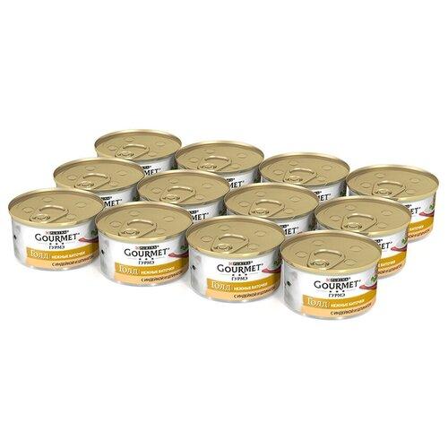 Влажный корм для кошек Gourmet Голд Нежные биточки, с индейкой, со шпинатом 12 шт. х 85 г (кусочки в соусе) влажный корм для кошек gourmet голд с форелью 24 шт х 85 г кусочки в соусе