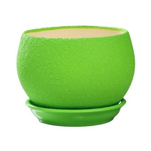Горшок Ориана с поддоном Шар шёлк 15 х 12.5 см зеленый по цене 598