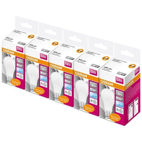 Фото - Упаковка светодиодных ламп 5 шт OSRAM LED Star Classic A 60 840, E27, A60, 7Вт упаковка светодиодных ламп 5 шт osram led star classic b 75 830 e27 8вт