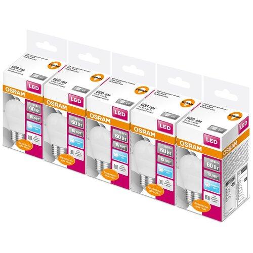 Фото - Упаковка светодиодных ламп 5 шт OSRAM Led Star Classic P 60 840, E27, G45, 6.5Вт упаковка светодиодных ламп 5 шт osram led star classic b 75 830 e27 8вт