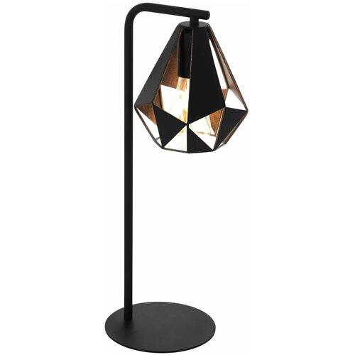 Лампа декоративная Eglo Carlton 43058, E27, 60 Вт, цвет арматуры: черный, цвет плафона/абажура: черный настольная лампа eglo almera 89116 60 вт