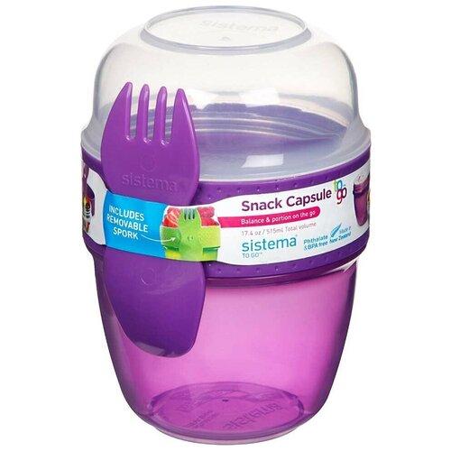 Фото - Sistema Контейнер двухуровневый Snack Capsule TO GO (21488) 0,515 л, 9x9.5 см, violet контейнер двухуровневый to go 1 4 л 14 5х15х9 6 см 21731 sistema