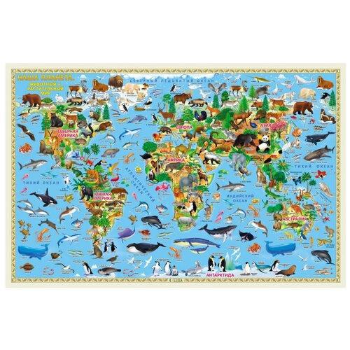 ГеоДом Карта Мира настенная Наша планета Животный и растительный мир (4607177454191/9785907093256), 80 × 124 см геодом карта настенная геодом российская федерация инфографика